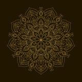 Mandala dourada Ornamento da circular do molde Imagens de Stock Royalty Free