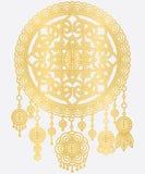 Mandala Dreamcatcher dourada Fotografia de Stock