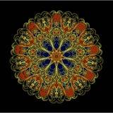 Mandala dunkelbraun auf Wight Lizenzfreies Stockbild