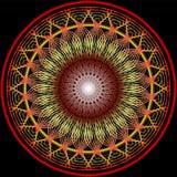 Mandala em cores mornas para a obtenção da vitalidade Testes padrões filigranas do bordado no amarelo, na laranja e no vermelho Imagens de Stock Royalty Free