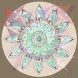 Mandala em um fundo abstrato, -, - rosa azul, macio claro roxo lilás marrom bege marrom claro do girassol ilustração stock
