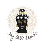 Mandala en het hoofd van Boedha met het van letters voorzien - ` Mijn kleine Boedha ` Hand getrokken drukontwerp vector illustratie