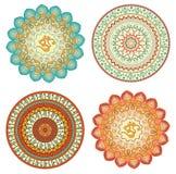 mandala Ensemble d'ornements ronds dans le style ethnique Illustration de Vecteur