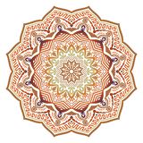 Mandala ensolarada étnica do sumário do vetor com cores alaranjadas fotografia de stock