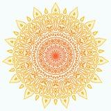 Mandala ensolarada isolada no fundo branco Imagem de Stock