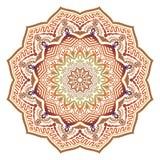 Mandala ensoleillé ethnique d'abrégé sur vecteur avec des couleurs oranges illustration de vecteur