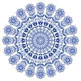 Mandala escandinava com flores, ornamento redondo floral do vetor da arte popular, projeto nórdico com as flores no círculo, comp Imagem de Stock