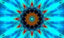 mandala Estrela-dada forma   Formas azuis/turquesa e detalhes alaranjados ilustração do vetor
