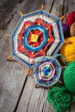 Mandala et fil tricotés Images libres de droits