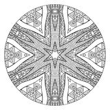 Mandala With Ethnic Ornament in bianco e nero astratta Fotografia Stock Libera da Diritti