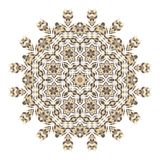 Mandala. Ethnicity round ornament. Ethnic style. Elements for invitation card. Oriental circular pattern, wooden basket Stock Photo