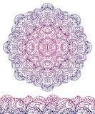 Mandala ethnique abstrait, frontière sans couture contour Photo libre de droits