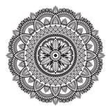 Mandala ethnique noir et blanc sur le fond blanc Mod?le d?coratif circulaire illustration stock