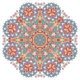 Mandala exhausta de la mano colorida redonda del vector stock de ilustración