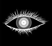 Mandala in Eye. Eye mandala style white  on black Royalty Free Stock Image