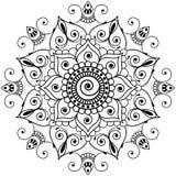 Mandala för blomma för beståndsdel för Mehndi henna indisk för tatoo eller kort Arkivbilder