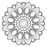 Mandala för färgbok En modell i cirkeln Illustration fo royaltyfri illustrationer