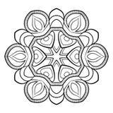 Mandala för färgbok Monokrom illustration Symmetriskt klappa Arkivbilder
