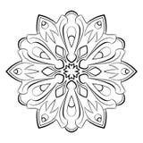 Mandala för färgbok Monokrom illustration Symmetriskt klappa Fotografering för Bildbyråer