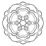 Mandala för färgbok Monokrom illustration Symmetriskt klappa Royaltyfria Foton