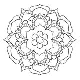 Mandala för färgbok Monokrom illustration Symmetriskt klappa stock illustrationer