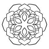 Mandala för färgbok Monokrom illustration Symmetriskt klappa Royaltyfri Fotografi