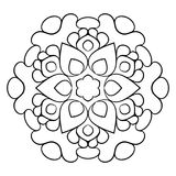 Mandala för färgbok Monokrom illustration Symmetriskt klappa Royaltyfri Bild