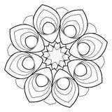 Mandala för färgbok monokromen avbildar Symmetrisk modell in Royaltyfri Foto