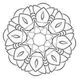 Mandala för färgbok monokromen avbildar Symmetrisk modell in Royaltyfri Fotografi