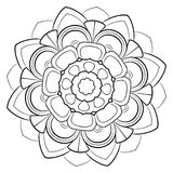 Mandala för färgbok monokromen avbildar Symmetrisk modell in Fotografering för Bildbyråer