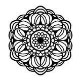 Mandala för färgläggningbok Ovanlig blommaform Dekorativa runda prydnader, Anti--spänning terapimodell Vävdesign stock illustrationer