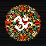 Mandala fait de feuilles avec le signe de l'OM Images libres de droits