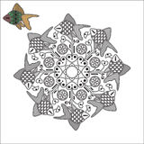 Mandala with fishes and flowers. Stock Photo
