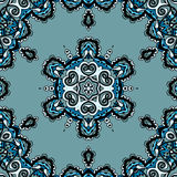 Μπλε άνευ ραφής mandala, flayer σχέδιο σε φυλετικό Στοκ Εικόνες