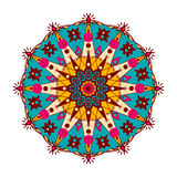 Mandala fleuri et oriental Dirigez autour de l'ornement coloré dans des tons lumineux d'isolement sur un fond blanc Image stock
