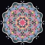 Mandala fleuri rond décoratif pour la copie ou le web design Fond coloré abstrait de mandala Images stock