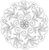 Mandala - flor, natureza, símbolo do círculo da energia em preto e branco ilustração royalty free