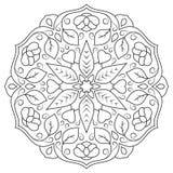 Mandala floral avec des feuilles et des coeurs sur un fond blanc Images libres de droits
