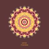 Mandala floral coloré ornemental, bagout géométrique tiré par la main Images stock