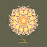 Mandala floral coloré ornemental sur le fond de couleur foncée étable Photos stock