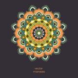 Mandala floral coloré ornemental sur le fond de couleur foncée Images stock