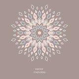 Mandala floral coloré tiré par la main Style d'oriental de vintage Indi Image stock