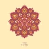 Mandala floral colorida decorativa, alinhador longitudinal geométrico tirado mão Foto de Stock Royalty Free