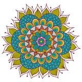 Mandala floral colorida Elementos decorativos étnicos ilustração royalty free