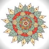 Mandala floral colorida Ornamento redondo decorativo ilustração stock