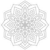 Mandala floral con las hojas y los corazones en un fondo blanco Foto de archivo libre de regalías