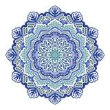 Mandala floral da cor azul do sumário do vetor em um fundo branco fotos de stock