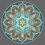 Mandala floral de la turquesa oscura Foto de archivo libre de regalías