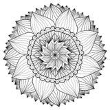 Mandala floral decorativa Teste padrão do ornamento da flor Vetor para a página ou a decoração adulta da coloração Imagens de Stock