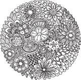 Mandala floral del garabato stock de ilustración